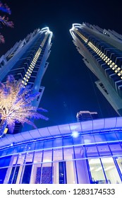 DUBAI, UAE - NOVEMBER 15, 2018:  Tall Dubai skyscrapers. Futuristic city. JW Marriott Marquis Dubai hotel. The tallest 5 star hotel in the world.