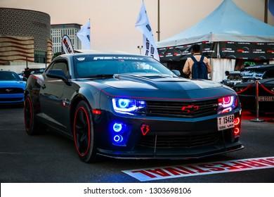 Dubai, UAE - November 15, 2018: American muscle car Chevrolet Camaro ZL1 takes part in the annual Gulf Car Festival.