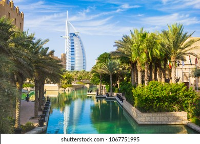DUBAI, UAE - NOVEMBER 15: View of the hotel Burj Al Arab from Souk Madinat Jumeirah. Nov 15, 2012 in Dubai. Burj Al Arab is a luxury 7 stars hotel built  in front of Jumeirah beach.