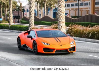 Dubai, UAE - November 16, 2018: Italian sportscar Lamborghini Huracan in the city street.