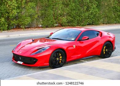 Dubai, UAE - November 16, 2018: Italian sportscar Ferrari 812 Superfast in the city street.