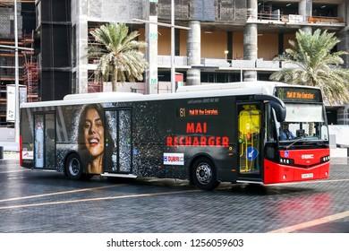 Dubai, UAE - November 16, 2018: City bus VDL Citea in the city street.