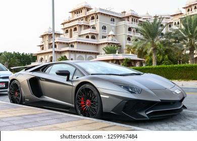 Dubai, UAE - November 16, 2018: Italian sportscar Lamborghini Aventador LP 750-4 SuperVeloce in the city street.