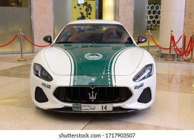 DUBAI, UAE - NOVEMBER 16: The Maserati GranTourismo car of Dubai Police is on Dubai Motor Show 2019 on November 16, 2019