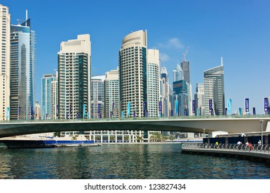 DUBAI, UAE - NOVEMBER 16: Modern buildings in Dubai Marina, on November 16, 2012, Dubai, UAE. In the city of artificial channel length of 3 kilometers along the Persian Gulf.