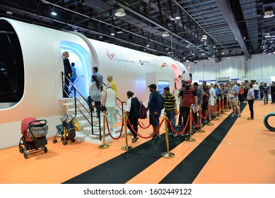 DUBAI, UAE - NOVEMBER 16: The Virgin Hyperloop One prototype and people are in queue for testing of carriage interior on Dubai Motor Show 2019 on November 16, 2019