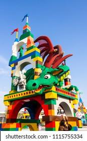 DUBAI, UAE - November, 17, 2017: Sculpture dragon Legoland at Dubai Parks and Resorts. Dubai, United Arab Emirates.