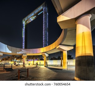 DUBAI, UAE, NOVEMBER 17, 2017: Dubai Frame in the UAE, as seen on November 17, 2017. It is an upcoming project of Dubai tourism, It will stand 492 feet tall.