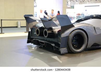 DUBAI, UAE - NOVEMBER 17: The luxury Devel Sixteen concept supercar is on Dubai Motor Show 2017 on November 17, 2017