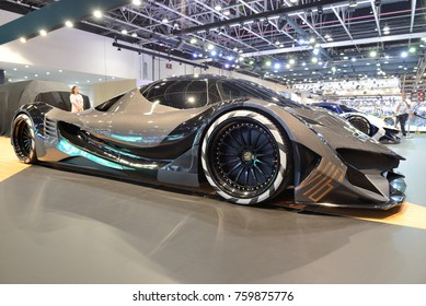 DUBAI, UAE - NOVEMBER 17: The luxury Devel Sixteen supercar is on Dubai Motor Show 2017 on November 17, 2017
