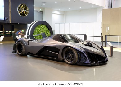 DUBAI, UAE - NOVEMBER 17: The luxury Devel Sixteen concept supercar is on Dubai Motor Show 2017 on November 17, 2017