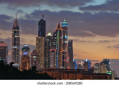 DUBAI, UAE - NOVEMBER 17: Dubai Marina at night, on November 17, 2012, Dubai, UAE. In the city of artificial channel length of 3 kilometers along the Persian Gulf.