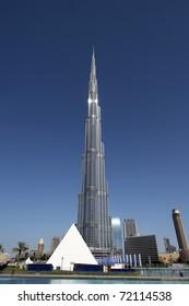 DUBAI, UAE - NOVEMBER 17: View at Burj Khalifa in Dubai, on November 17, 2010. This skyscraper is the tallest man-made structure ever built, at 828 m.