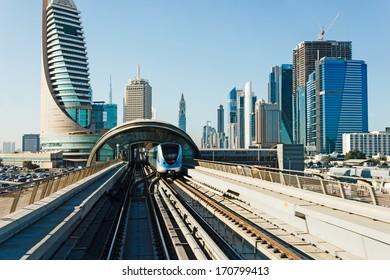 DUBAI, UAE - NOVEMBER 18, 2012: Metro subway tracks. Dubai Metro as world's longest fully automated metro network (75 km) .