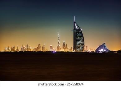 DUBAI, UAE - November 18, 2012 -The luxurious and iconic Burj al Arab is the second tallest hotel in the world, Nov. 18, 2012, situated on a man-made island off Dubai, United Arab Emirates.