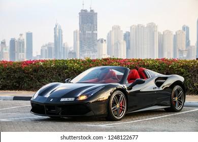Dubai, UAE - November 18, 2018: Italian sportscar Ferrari 488 Spider in the city street.