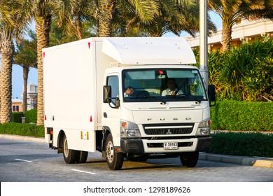 Dubai, UAE - November 18, 2018: Cargo van Mitsubishi Fuso Canter in the city street.