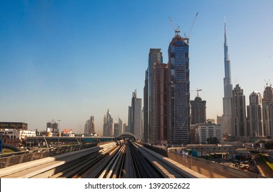 Dubai, UAE - November 18 2018: Dubai subway trip (view from the train).
