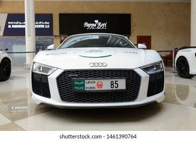 DUBAI, UAE - NOVEMBER 18: The Audi R8 of Dubai Police cars are on Dubai Motor Show 2017 on November 18, 2017