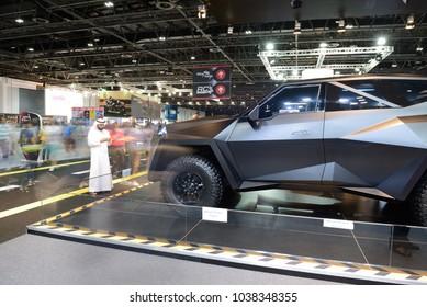 DUBAI, UAE - NOVEMBER 18: The Karlmann King car is on Dubai Motor Show 2017 on November 18, 2017