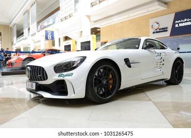 DUBAI, UAE - NOVEMBER 18: The Mercedes Benz GT R coupe of Dubai Police car is on Dubai Motor Show 2017 on November 18, 2017