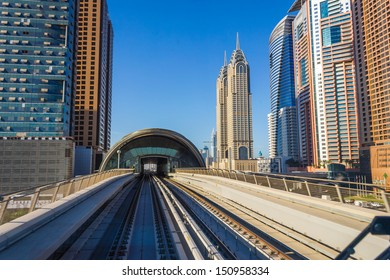 DUBAI, UAE - NOVEMBER 18: Dubai Metro. A view of the city from the subway car nov 18. 2012.  Dubai Metro as world's longest fully automated metro network (75 km) on November 18, 2012, Dubai, UAE.