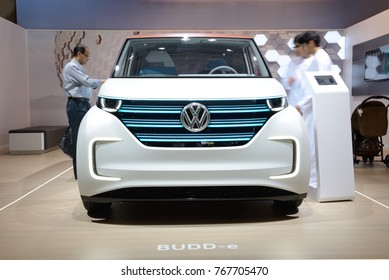 DUBAI, UAE - NOVEMBER 18: The Volkswagen BUDD-e concept electric car is on Dubai Motor Show 2017 on November 18, 2017