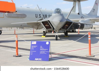 Dubai, UAE - November 19, 2019: US Air Force Lockheed Martin F-22 Raptor all-weather stealth tactical fighter aircraft at Dubai Airshow 2019 - one of 13 US military assets at the 5-day airshow.