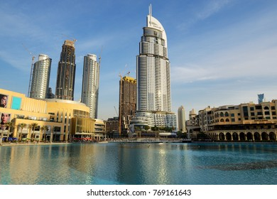 DUBAI, UAE - NOVEMBER 19: The view on Dubai Mall and Address hotel. It is the world's largest shopping mall.  It is located in Burj Khalifa complex and has 1200 shops inside on November 19, 2017