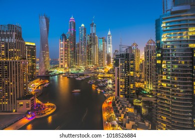 DUBAI, UAE - NOVEMBER 2: Dubai Marina. UAE. November 2, 2013. Dubai was the fastest developing city in the world between 2002 and 2008.