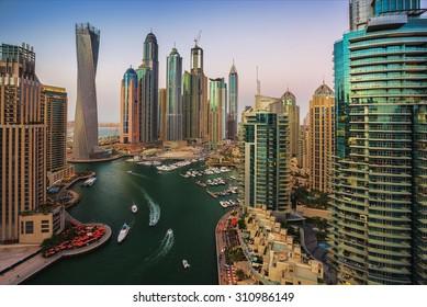 DUBAI, UAE - NOVEMBER 2: Dubai Marina. UAE. November 2, 2013. Dubai was the fastest developing city in the world between 2002 and 2008.
