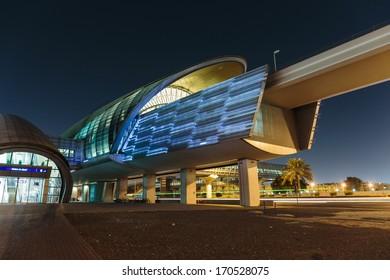 DUBAI, UAE - NOVEMBER 2: Metro subway station at night in Dubai. Metro as world's longest fully automated metro network (75 km) on November 2, 2013, Dubai, UAE.