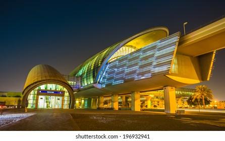 DUBAI, UAE - NOVEMBER 2: Dubai Metro as world's longest fully automated metro network (75 km) on November 2, 2013, Dubai, UAE.