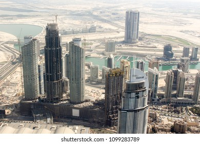 Dubai, UAE - November 2017: Aerial view of modern Dubai from Burj Khalifa observation deck. November 14, 2017.