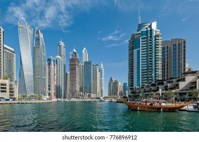 Dubai, UAE - November 21 2017 : Dubai marina cityscape on a early sunny morning.