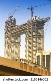 DUBAI, UAE - NOVEMBER 22, 2017: Luxury hotel under construction in Dubai. Address Residences Sky View is developed by Emaar Properties.