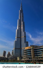 DUBAI, UAE - NOVEMBER 22, 2017: Burj Khalifa the tallest building in the world, owned by Emaar Properties, Dubai.
