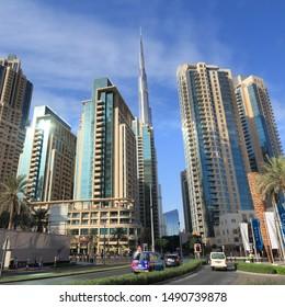 DUBAI, UAE - NOVEMBER 22, 2017: Skyline of Dubai, United Arab Emirates. Dubai is the most populous city in UAE and a major global city.
