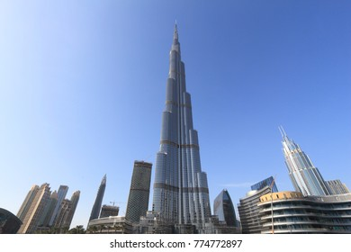 DUBAI, UAE - NOVEMBER 22, 2017: Burj Khalifa skyscraper in Dubai. As of 2017 the supertall tower is the tallest building in the world (828 m). It is owned by Emaar Properties.