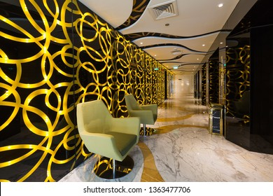 DUBAI, UAE - NOVEMBER 22, 2018: Hotel interior. Gevora, the tallest hotel in the world.  World's tallest 4 star hotel. Dubai hotel. Modern interior design.