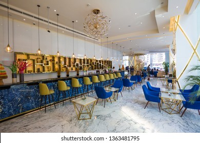 DUBAI, UAE - NOVEMBER 22, 2018: Hotel restaurant interior. Bar, cafe. Interior design. Gevora, the tallest hotel in the world. Dubai hotel.