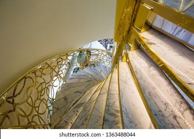 DUBAI, UAE - NOVEMBER 22, 2018: Beautiful staircase. Hotel interior. Modern interior design. Dubai luxury hotel.