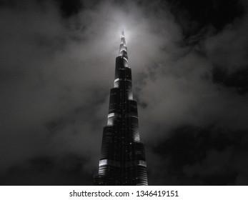 DUBAI, UAE - NOVEMBER 23 2017: Burj Khalifa building. Night view. United Arab Emirates
