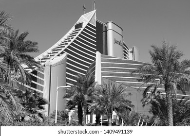 DUBAI, UAE - NOVEMBER 23, 2017: Jumeirah Beach Hotel in Dubai. The hotel was designed by British company WS Atkins. It is operated by Jumeirah Group.