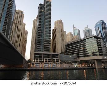 DUBAI, UAE - NOVEMBER 23 2017: Dubai Marina - artificial canal city. Skyscrapers, buildings and streets. United Arab Emirates. Arabian peninsula