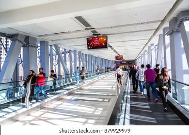 DUBAI, UAE - NOVEMBER 23: Automatic stairs in Dubai metro station on 23 November 2015 in Dubai.