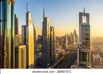 DUBAI, UAE - NOVEMBER 24 - Aerial view of downtown Dubai in a summer day, United Arab Emirates on November 24, 2015