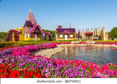 DUBAI, UAE - NOVEMBER 24 : Dubai miracle garden with over 45 million flowers in a sunny day on November 24, 2015, United Arab Emirates