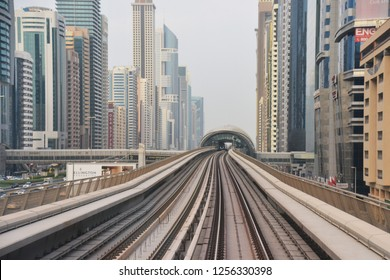 Dubai, UAE – November 25, 2018: The Dubai Metro is a rapid transit rail network that convenient for trevel around the downtown in Dubai, United Arab Emirates.