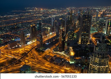 Dubai, UAE - November 26, 2016: View from the At The Top observation deck at level 124 of Burj Khalifa skyscraper.